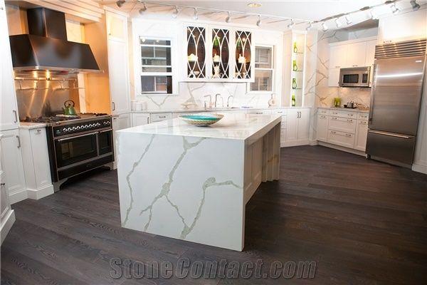 Manufacturer Bianco Calacatta Marble Look White Quartz Stone Kitchen Islands Top Engineered Silestone Backsplash Wall Covering Customized Work