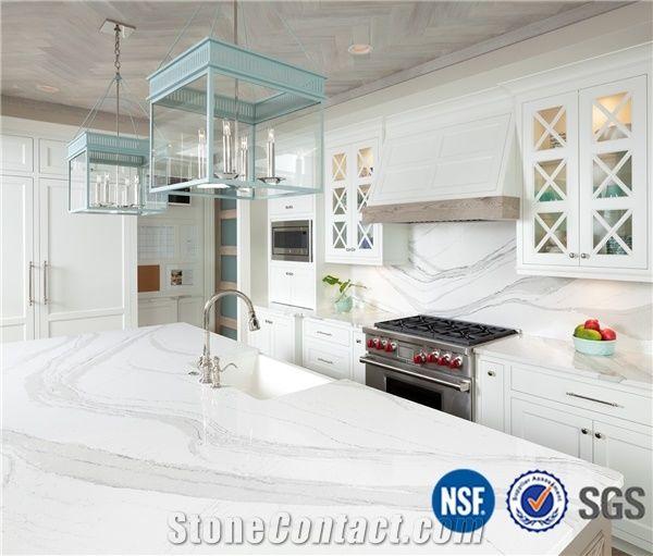 O E M Manufacturer Bianco Calacatta Marble Look White Quartz Stone