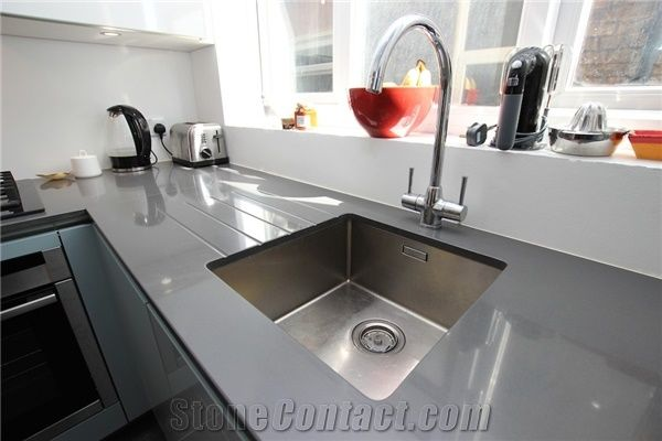 Oem Manufacturer Pure Grey Quartz Stone Kitchen Work Tops