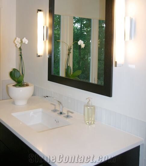 Pure milk white quartz stone engineered stone solid - Engineered stone bathroom countertops ...