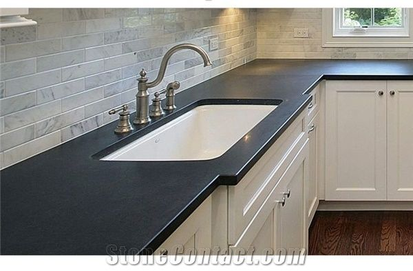 Corian Black Solid Surface Kitchen Perimeter Top From