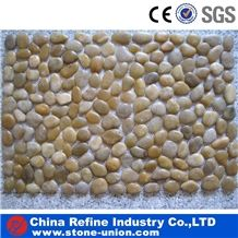 Direct Factory for Cheap Pebble Tiles, Yellow Polished Pebbles/Cobble for Landscaping Paving Polished Pebble Mosaic, Golden River Pebble Mosaic Bath Mat
