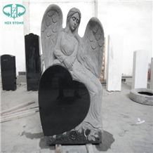 Absolute Black Shanxi Black Granite Angel & Heart Tombstone,Black Granite Monument