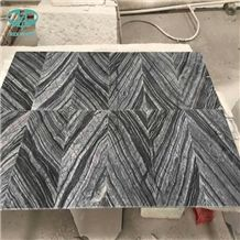 Ancient Wood/Silver Wave/Black Wooden/Zebra Black/Antique Serpenggiante/Antique Wood/Black Wood/Black Serpenggiante/Fossil Black/ Cheap Chinese Black Wood Vein Marble Polished Book matched Tile Floor