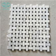 Basket-Wave White Marble Mosaic Tile,Polished Black & White Mosaic for Bathroom