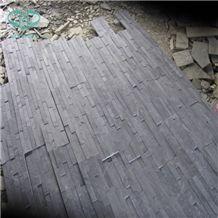 China Black Slate Culture Stone,Blue Slate Wall Panel,Wall Cladding, Black Ledge Stone