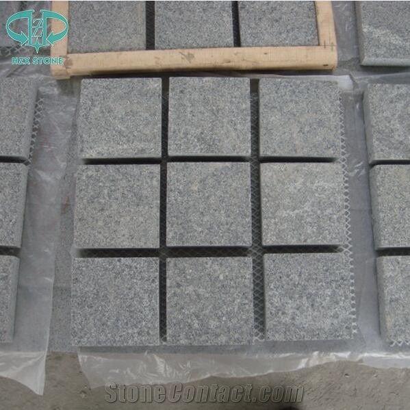 Chinese G654 Light And Dark Grey Granite Cobble Stone Cube
