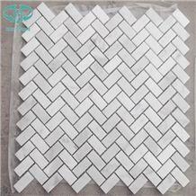 Mosaic,Carrara White Marble Mosaic Tiles on Mesh, White Mosaic, Wall Mosaic, Floor Mosaic, Interior Decoration, Customized Mosaic Tile, Mosaic Tile for Bathroom