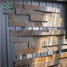 Rusty Slate Ledge Stone, Copper Slate Stone Wall Decor, Stacked Stone Veneer for Wall Cladding