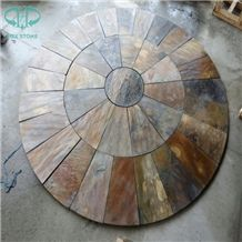Rusty Slate, Rusty Round/Circular Shape Floor Tile Covering,Landscaping Paver Tile Cladding, China Multicolor Slate Flagstone