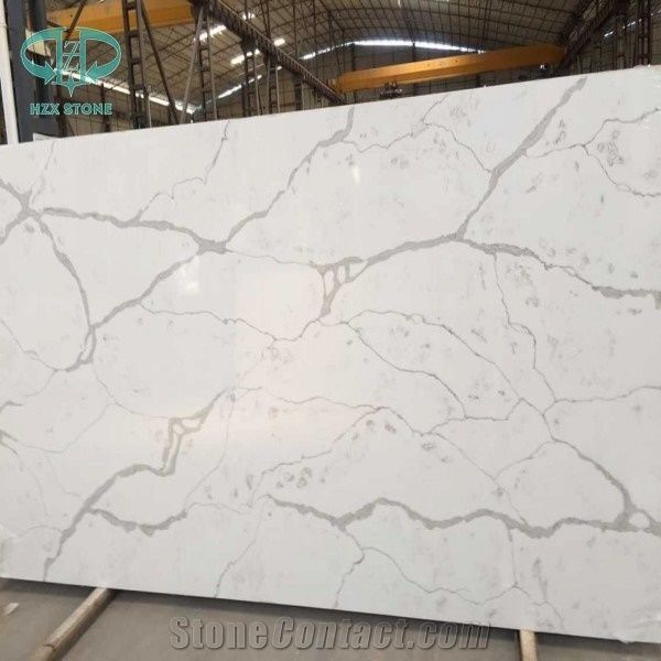 Statuario White Quartz Stone Slab Calacatta Engineered