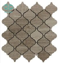 Wooden Grain ,Wooden Vein,Chinese Stone Mosaic Tile Wooden Grey,China Wood Marble Mosaic Polished 1