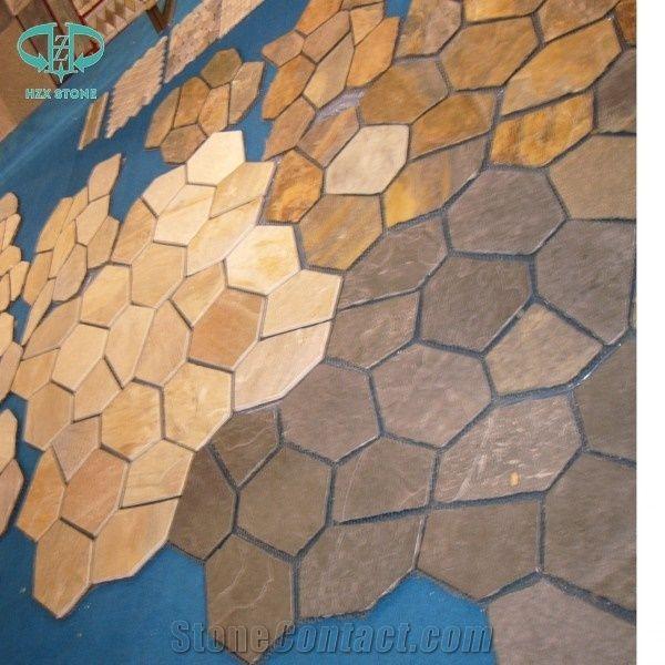 Yellow Slate Random Flagstones/ Paving Stone Landscape Slate Yellow/Natural  Stone Irregular Flagstone Patio/Crazy Paving Stone Irregular Shapes Natural  ...