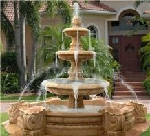 Yellow Limestone Exterior Fountains Water Features for Garden