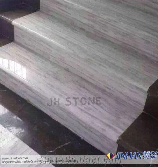 Line Vein White Grey Marble Staircase, Kavala White Marble Steps, Greece  White Marble Stair Treads, Gray White Marble Stair Threshold