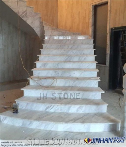 Volakas White Marble Tile, Volacas White Marble Steps, Greece White Marble  Staircase Steps And Risers Used For Interior Floor Tile, Commercial Stair  Tiles