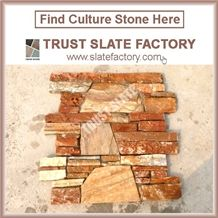 P014 Golden Beige Quartzite Cultured Stone Veneer Ledge Stone Walling Panel, Culture Stone Slate Veneer