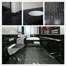 China Supplier Manufactory Polished Negro Marquina with Vein Black and White Nero Oriental Marble Tiles Slabs, Walll Cladding Panels, Stairs, Versailles Pattern, Skirting, Interior Decoration Building
