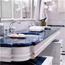 Blue Sapphire Onyx Semiprecious Stone Bath Top, Blue Sodalite Semiprecious Stone Vanity Tops