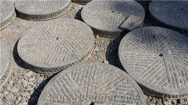 China Ancient Blue Stone Roller Stone Garden Design Millstone