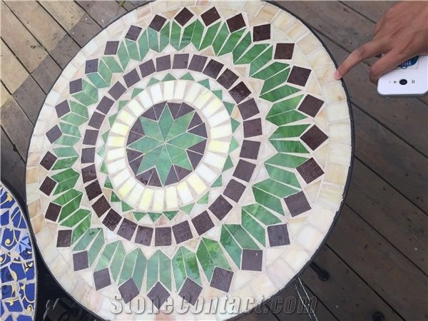 Round Ceramic Mosaic Table Top Outdoor, Mosaic Tile Round Table Top