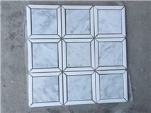 China Crystal White with Carrara White Marble Mosaic, Square Design and Basketweave Design Stone Mosaic, Polished White Mosaic Tile Direct from China Factory