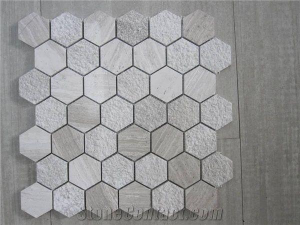Grey Marble Hexagon Mosaic Tiles