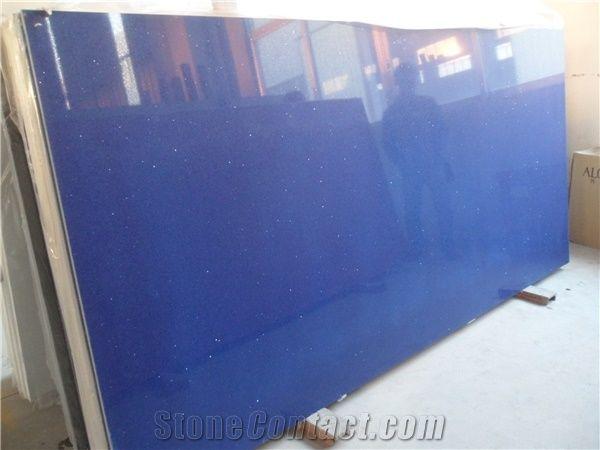 Crystal Blue Quartz Big Stone Slab On Sales China