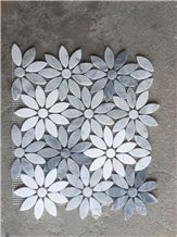 Italy Grey Carrara White Crystal White Marble Flower Design Beautiful Stone Mosaic, Polished Nice Design Interior Stone Mosaic Tile, Marble Stone Mosaic