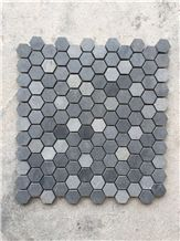 Polished Granite Mosaic Tiles with Pattern, China Interior Stone, Black Prismatic Hexagonal Granite Mosaic