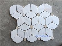 Polished Marble Mosaic Tiles with Pattern, Beige/Italy Carrara White,China Interior Stone Mosaic,Special Shape Mosaic for Wall Cover