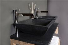 Shanxi Black Granite Bathroom Countertop with Square Sink/Nero Supreme Granite Custom Vanity Tops/North Mountain Black Granite Bathroom Vanity Tops/Natural Stone Bath Top/Terry Stone Co., Ltd