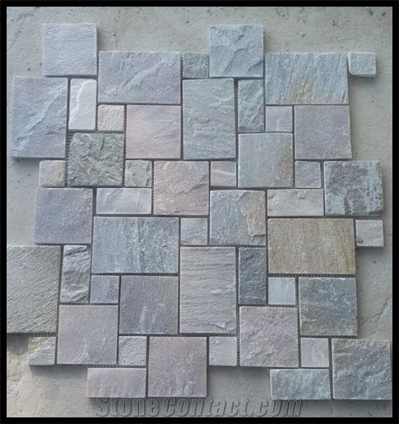 Chinese Mix Color Slate Natural Decorative Stone Mosaic Floor