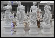 Four Seasons Nymphs Hunan White Marble Sculpture
