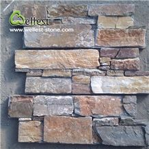 Natural Stone Wall Cladding Rusty Slate Z Shape Cement Base Culture Stone