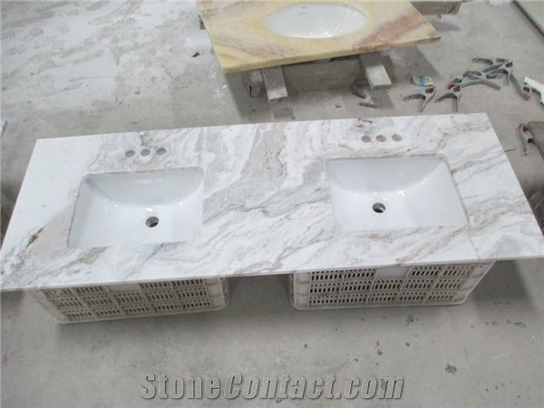 Snow White Marble Vanity Tops Italy Bath Top Grey Veins Countertops