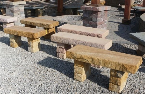 Scenery Snadstone Long Patio Benches For Garden Decoration