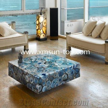 Blue Agate Semiprecious Stone Coffee Table, Blue Gemstone Tea Table,  Precious Stone Coffee Tables Furniture, Luxury Blue Agate Stone Desk, ...