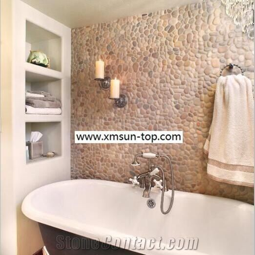 Brown And Red Pebble Walling Natural