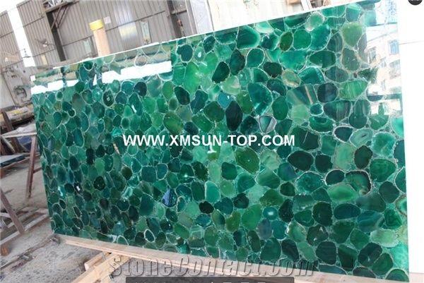 Green agate semiprecious stone big slab tiles gangsaw slab strips
