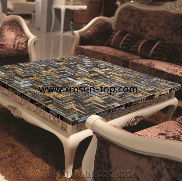 Yellow Marble Coffee Table: Yellow-Blue Tiger Eye Semiprecious Stone Coffee Table
