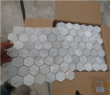 Italy Natural Stone Grey Carrara White Crystal Marble Polished 48*48mm Mosaic Tiles for Wall,Bathroom,Floor,Interior