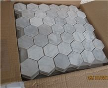 Italy Natural Stone Grey Carrara White Crystal Marble Polished 48*48mm Mosaic Tiles for Wall,Bathroom, Flower Design Beautiful Stone Mosaic