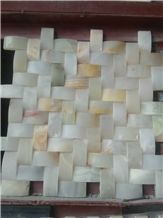 Italy Natural Stone Yellow, White Onyx Polished 48*48 mm Mosaic Tiles for Wall,Bathroom, Flower Design Beautiful Mosaic