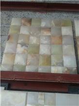 Pakistan Natural Stone Light Green Onyx Polished 48*48mm Mosaic Tiles for Wall,Bathroom, Flower Design Beautiful Onice Verde Chiaro Mosaic