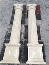 Ultraman Beige Marble Polished Column & Baluster,Carving Wall Decoration