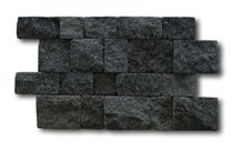 Black Lavastone Tumbled Wall Cladding Brick Stacked Stone, Bali Kewal Volcanic Basalt Split Face Culture Stone Wall Cladding, Indonesia Black Lavastone Basalt Stacked Stone Veneer