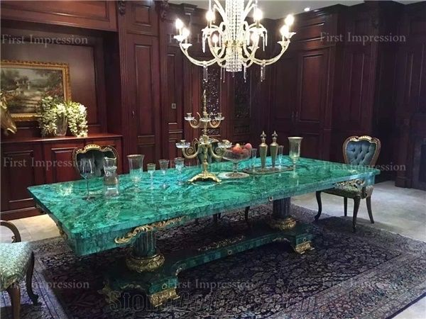 Green Malachite Gemstone Tabletop Semi Precious Stonetable Countertop Stone Panels