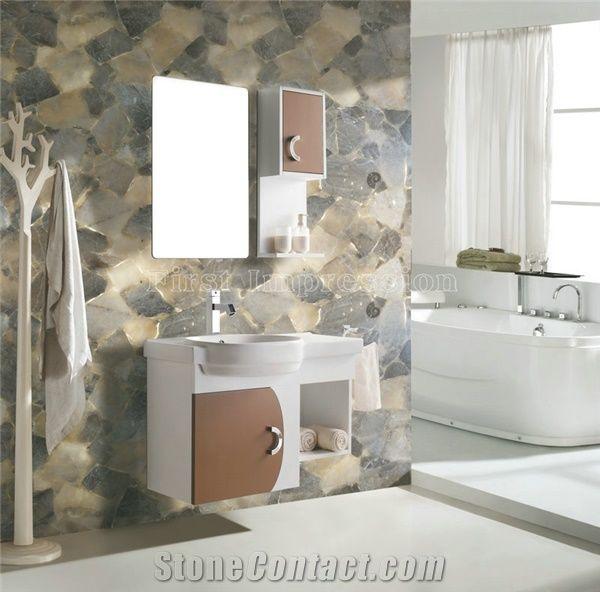 Grey Qurtz Tiles Gemstone Bathroom Design Grey Quartz Backlit