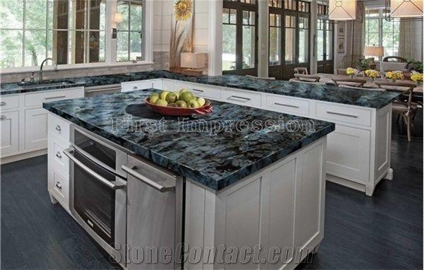 Labradorite Volga Blue Granite Countertops/Ukraine Blue Granite Kitchen  Worktops/Kitchen Bar Tops/Kitchen Desk Tops/Custom Countertops/Kitchen Top